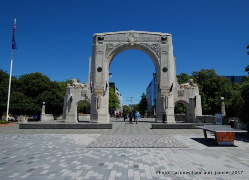 Bridge of Remembrance, Christchurch, île du Sud, Nouvelle-Zélande
