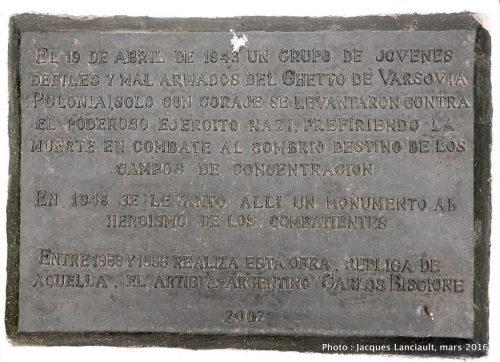 Monument aux héros et martyrs du ghetto de Varsovie, Parque del Centenario, Buenos Aires, Argentine