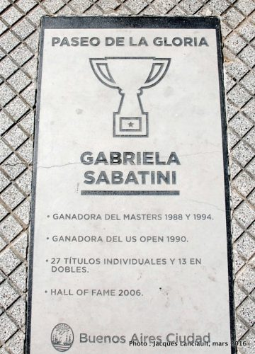 Gabriella Sabatini, paseo de la Gloria, quartier Puerto Madero, Buenos Aires, Argentine