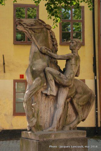 Garçon grimpant à cheval, Stockholm, Suède