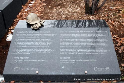 Monument canadien des métiers de la construction, Ottawa, Ontario