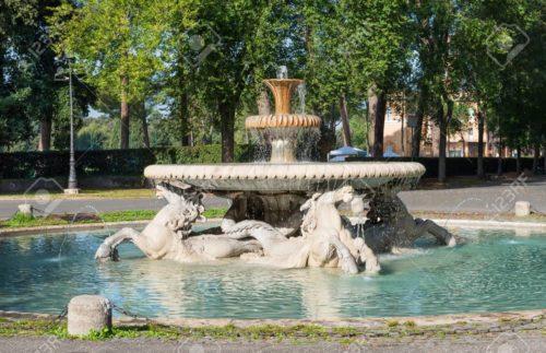 Fontana dei Cavalli Marini, Parc de la Villa Borghese, Rome, Italie