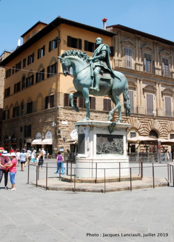 Statue équestre de Cosme 1er de Médicis, piazza della Signoria, Florence, Italie