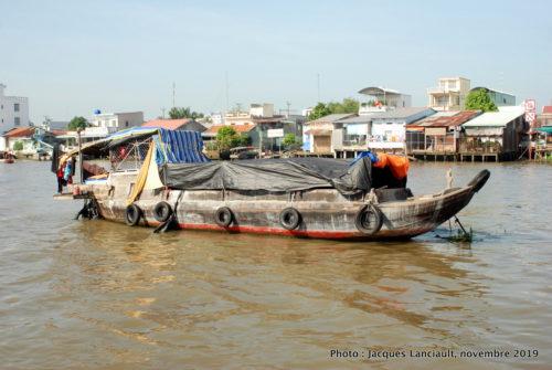Bateau-habitation, fleuve Mékong, Vietnam