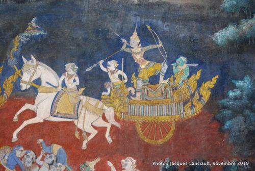 Fresques, pagode d'Argent, palais Royal, Phnom Penh, Cambodge