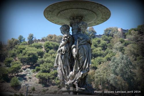 Fontaine des Trois Grâces, Paseo del Parque, Málaga, Espagne