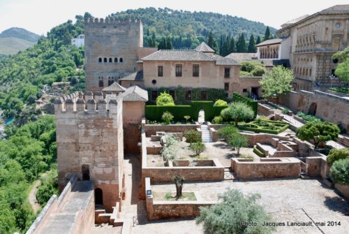 Place d'armes, Alcazaba, Alhambra, Grenade, Andalousie, Espagne