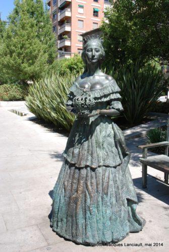 Statue de Eugénie deMontijo, Avenida de la Constitución, Grenade, Andalousie, Espagne