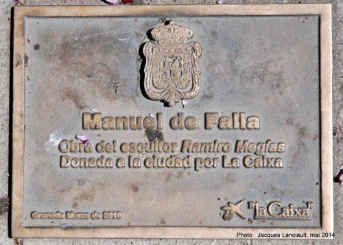 Manuel deFalla, Avenida de la Constitución, Grenade, Andalousie, Espagne