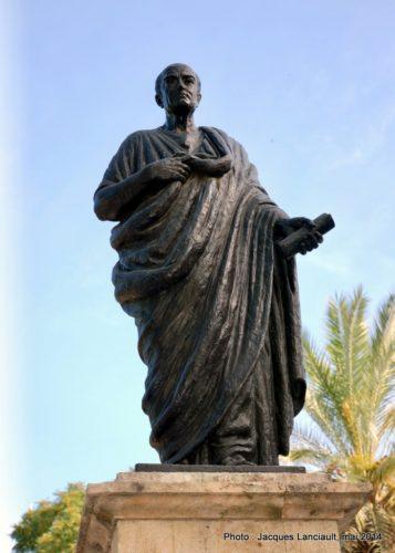 Statue de Sénèque, Puerta de Almodóvar, Cordoue, Andalousie, Espagne