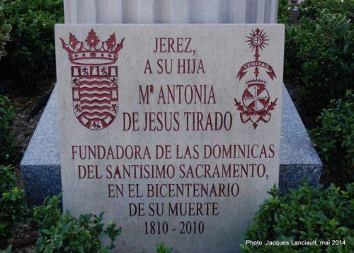 Monument à María Antonia de Jesús Tirado, Jerez de la Frontera, Andalousie, Espagne