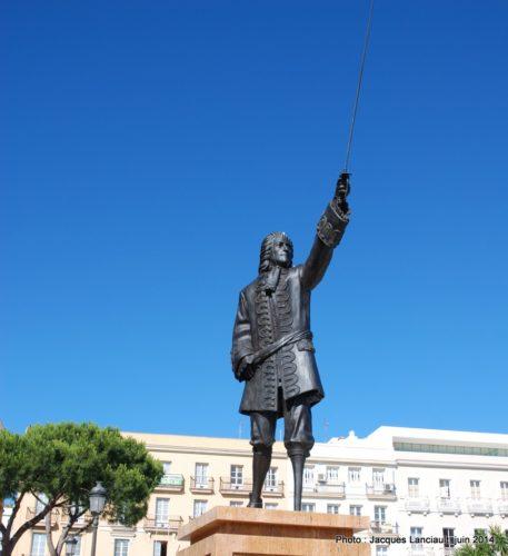 Monument à Blas de Lezo, Paseo de Canalejas, Cádiz, Andalousie, Espagne