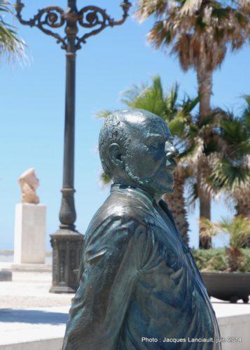 Statue de Fernando Quiñones, Cádiz, Andalousie, Espagne