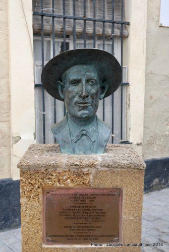 Buste de Enrique El Mellizo, Cádiz, Andalousie, Espagne