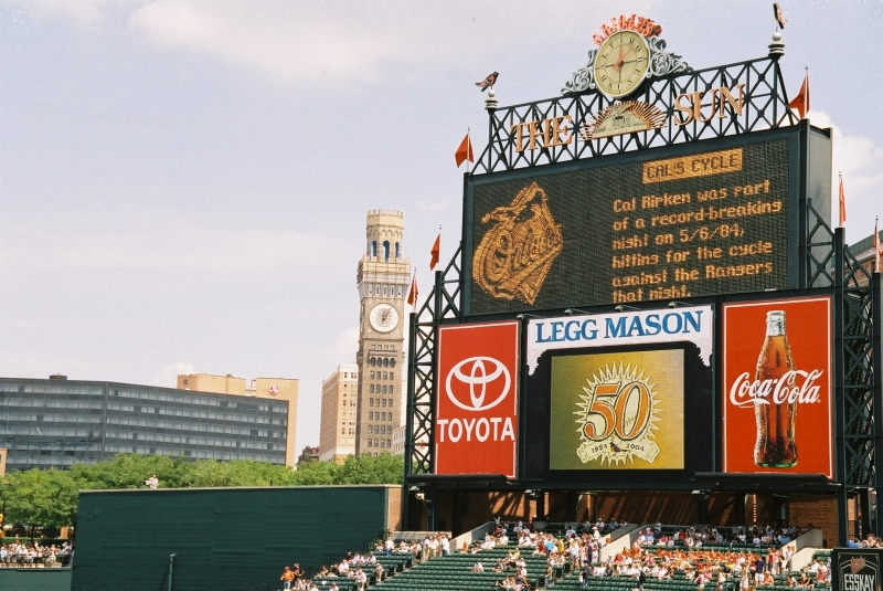 Le tableau indicateur à Camden Yards