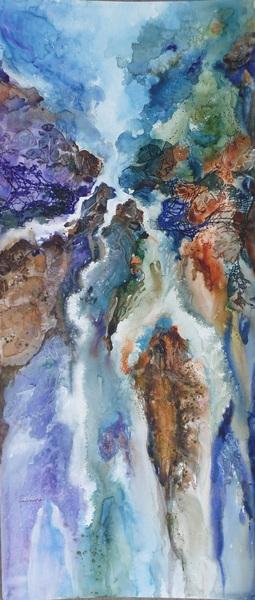 Abstract waterfall 30x13