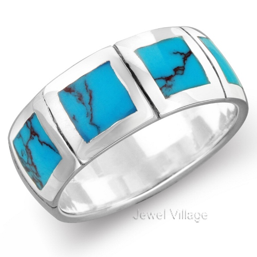 Mens Turquoise Wedding Rings 925 Sterling Silver Turquoise Men Women Engagement Wedding