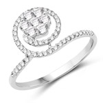 0.48 Carat Genuine White Diamond 14K White Gold Ring (G-H Color, SI1-SI2 Clarity)
