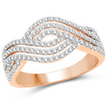0.61 Carat Genuine White Diamond 14K Rose Gold Ring (G-H Color, SI1-SI2 Clarity)