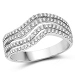 0.56 Carat Genuine White Diamond 14K White Gold Ring (G-H Color, SI1-SI2 Clarity)