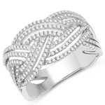 0.49 Carat Genuine White Diamond 14K White Gold Ring (G-H Color, SI1-SI2 Clarity)