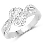 0.40 Carat Genuine White Diamond 14K White Gold Ring (G-H Color, SI1-SI2 Clarity)