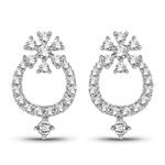 0.48 Carat Genuine White Diamond 14K White Gold Earrings (G-H Color, SI1-SI2 Clarity)