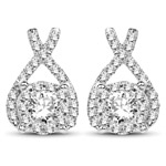 0.86 Carat Genuine White Diamond 14K White Gold Earrings (G-H Color, SI1-SI2 Clarity)