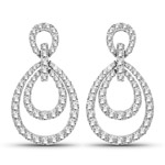 0.76 Carat Genuine White Diamond 14K White Gold Earrings (G-H Color, SI1-SI2 Clarity)