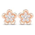0.27 Carat Genuine White Diamond 14K Rose Gold Earrings (G-H Color, SI1-SI2 Clarity)