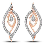 0.41 Carat Genuine White Diamond 14K Rose Gold Earrings (G-H Color, SI1-SI2 Clarity)