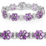 26.10 Carat Genuine Amethyst and White Topaz .925 Sterling Silver Bracelet