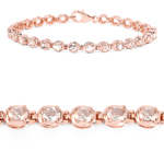 18K Rose Gold Plated 3.90 Carat Genuine Morganite Sterling Silver Bracelet