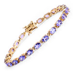 14K Yellow Gold Plated 9.68 Carat Genuine Tanzanite .925 Sterling Silver Bracelet