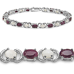 6.20 ct. t.w. Ruby and Opal Bracelet in .925 Silver