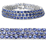 22.27 Carat Genuine Tanzanite .925 Sterling Silver Bracelet