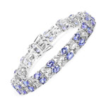 12.24 Carat Genuine Tanzanite and White Topaz .925 Sterling Silver Bracelet
