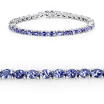 11.88 Carat Genuine Tanzanite .925 Sterling Silver Bracelet