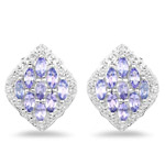 1.48 Carat Genuine Tanzanite and White Topaz .925 Sterling Silver Earrings
