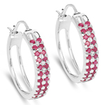 2.20 Carat Genuine Ruby .925 Sterling Silver Earrings