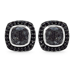 1.88 Carat Genuine Black Rutile & Black Spinel .925 Sterling Silver Earrings