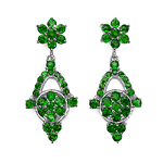 6.08 Carat Genuine Chrome Diopside .925 Sterling Silver Earrings