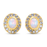 14K Yellow Gold Plated 2.01 Carat Genuine Ethiopian Opal and Tanzanite .925 Sterling Silver Earrings
