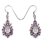 5.30 ct. t.w. Rose Quartz and Rhodolite Earrings in Sterling Silver