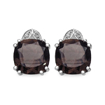6.90 Carat Genuine Smoky Topaz and 0.02 ct. t.w. Genuine Diamond Accents Sterling Silver Earring