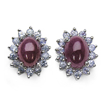 4.80 ct. t.w. Ruby and Tanzanite Sterling Silver Earring