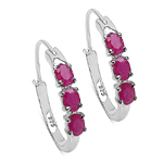 1.50 Carat Genuine Ruby Sterling Silver Earrings