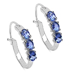 1.02 Carat Tanzanite 10K White Gold Earrings