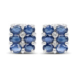2.66 Carat Genuine Blue Sapphire and White Diamond .925 Sterling Silver Earrings
