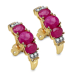 1.95 Carat Ruby & White Diamond 10K Yellow Gold Earrings